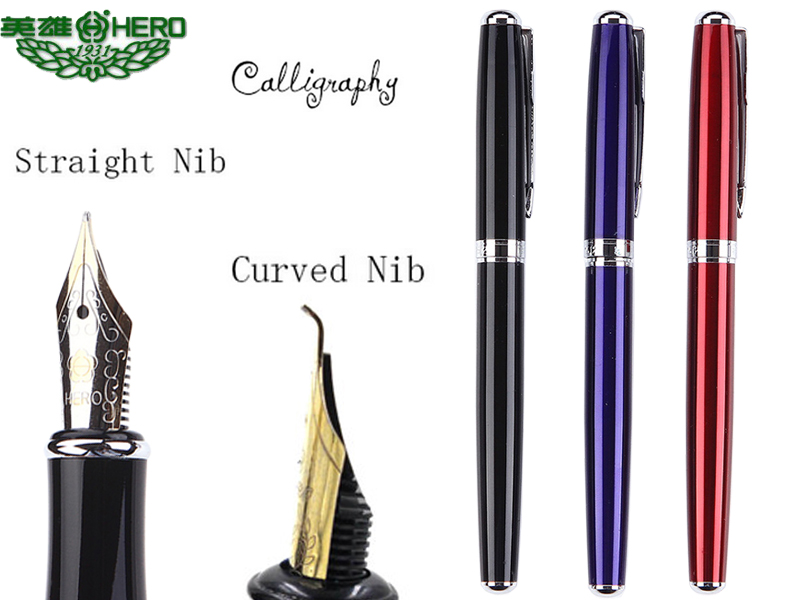 0.7/1.0  Calligraphy Fountain Pen HERO 1512 art pens Curved  Nib / Straight nib  3 colors to choose  FREE  SHIPPING fountain pen curved nib or straight nib to choose hero 6055 office and school calligraphy art pens free shipping
