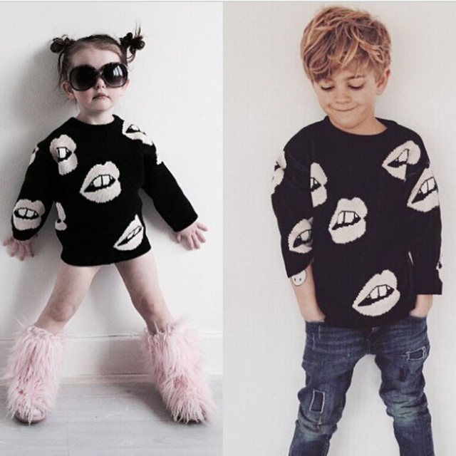 2016 KIDS Brand Winter Baby Sweater Girls Boys Black White Lips Knitted Autumn Cardigan Baby Outfits Clothing girls sweater