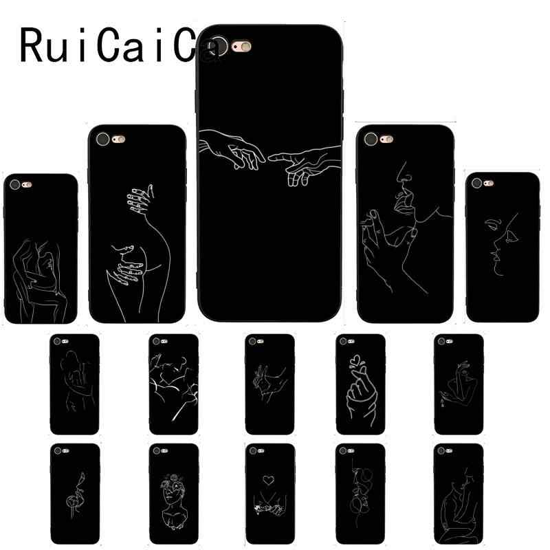 Ruicaica Fashion Lover Face Art Abstract Lines Black Shell Phone Case for iPhone X XS MAX 6 6S 7 7plus 8 8Plus 5 5S XR Cover