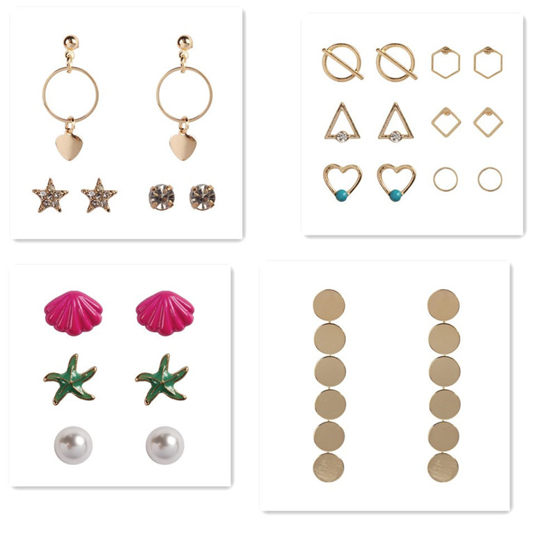 Stud Earrings Jewelry & Accessories Analytical Komi Ethnic Women Dragonfly Leaf Turquoises Shell Stud Earrings Set Alloy Elephant Round Triangle Earrings Suit B40510-12