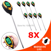 8 x pieces Digital 4in1 Plant Soil PH Moisture Light Soil Meter Sunlight Thermometer Temperature Lawns Tester 200mm Probe