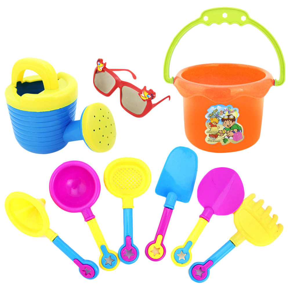 9pcs Funny Kid Beach Sand Game Toys Set Including Shovel Hourglass Bucket Kid Beach Playset Role Play Toy Kit Children Sand Toys