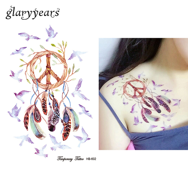 1PC Dreamcatcher Tattoo Peace Bird Feather Temporary Sticker HB632 Indian Dream Catcher Women Henna Body Art Tattoo Sexy Product