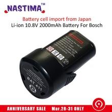 Li ion 10 8V 2000mAh Battery For Bosch BAT 411A BAT 411 Cordless Drill BAT412A BAT413A