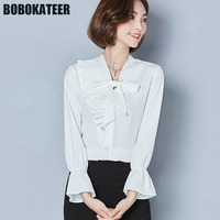 BOBOKATEER Office Long Sleeve White Chiffon Blouse Women Shirt Ladies Clothes Womens Tops And Blouses Chemise