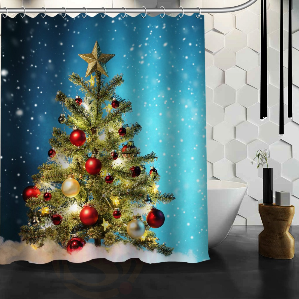 Beautiful Christmas Tree Bathroom 100% Polyester Shower