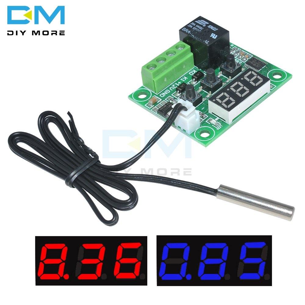 Thermostat Blue Wire >> Us 0 89 9 Off W1209 Dc 5v 12v 24v 220v Red Blue Led Digital Thermostat Temperature Control Thermometer Module Ntc Waterproof Sensor Wire In