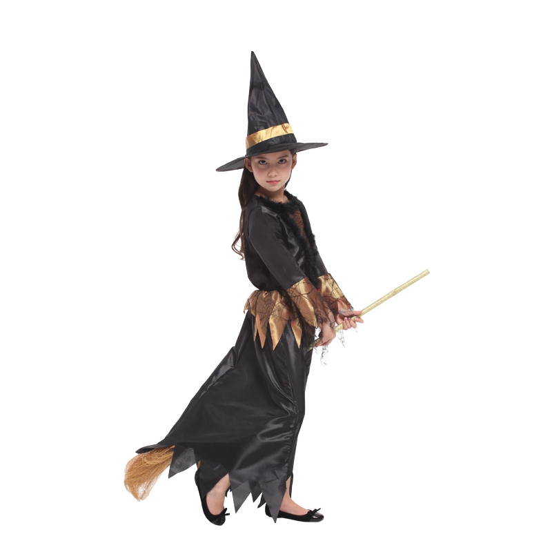 Black Gold Cobweb Witch Halloween Costume  3