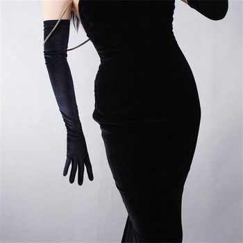 Black Velvet Women Gloves 60cm Long Vintage High Elasticity Evening vestido Gloves Fashion Elegant Lady Mittens TB20
