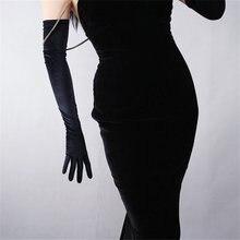 """שחור קטיפה נשים כפפות 60 ס""""מ ארוך בציר גבוהה גמישות ערב vestido כפפות אופנה אלגנטי ליידי כפפות TB20"""