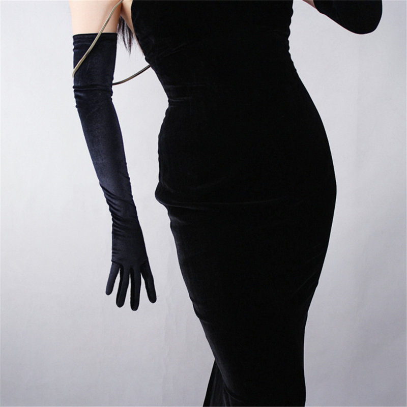 Black Velvet Women Gloves 60cm Long Vint