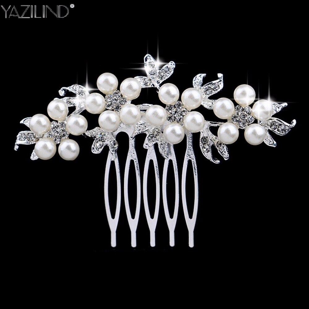 Wedding Hair Accessories Clips Romantic Crystal Pearl Flower Hair Comb Rhinestone Decorate Birde Hair Pins Jewelry