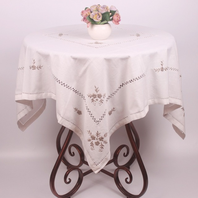 Pure White Cotton Linen Table Cloth For Wedding Party Table Decoration /  Unique Chinese Handmade Flower