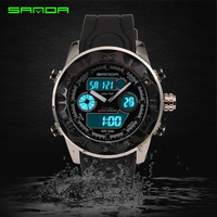 2016 Fashion Men Women Waterproof Wristwatch Outdoor Sports Quartzwatch Dual Time Digital Watch Gift For Boys