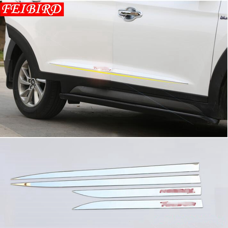 Image 2 - Accessories For Hyundai Tucson 2016 2017 2018 4PCS Side Door Molding Body Strip Streamer Protection Lid Molding Cover Kit Trim-in Chromium Styling from Automobiles & Motorcycles