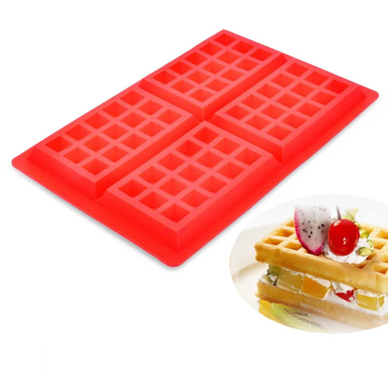 Silicone Waffle Mold Non-stick 4 Cavities Waffle Maker Baking Tray Mold Pan DIY Bakeware Tool Cake Chocolate Craft Cand Y Soap
