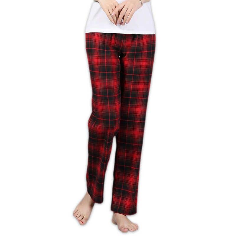 00ecd37299bee Летние модные клетчатые 100% хлопок для женщин S lounge брюки для девочек  плюс размеры сна