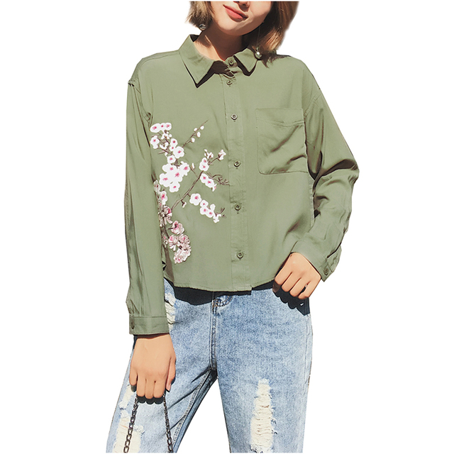 014b21e6 Floral Embroidery Army Green Blouse 2017 Ethnic Plum blossom Flower Pattern Shirt  Long Sleeve Turn-down Collar Women Tops Blusas