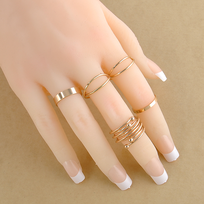 6pcs Set Unique Ring Set Punk Style Gold Color Knuckle Rings for