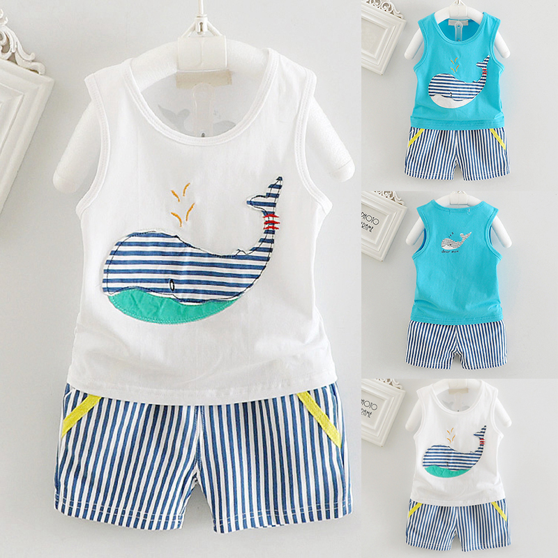 Summer Baby Boys Girls Clothes Set Casual Cotton Sleeveless Vest + Striped Shorts Children Kids Sport Suit Set  for 6-36M Baby
