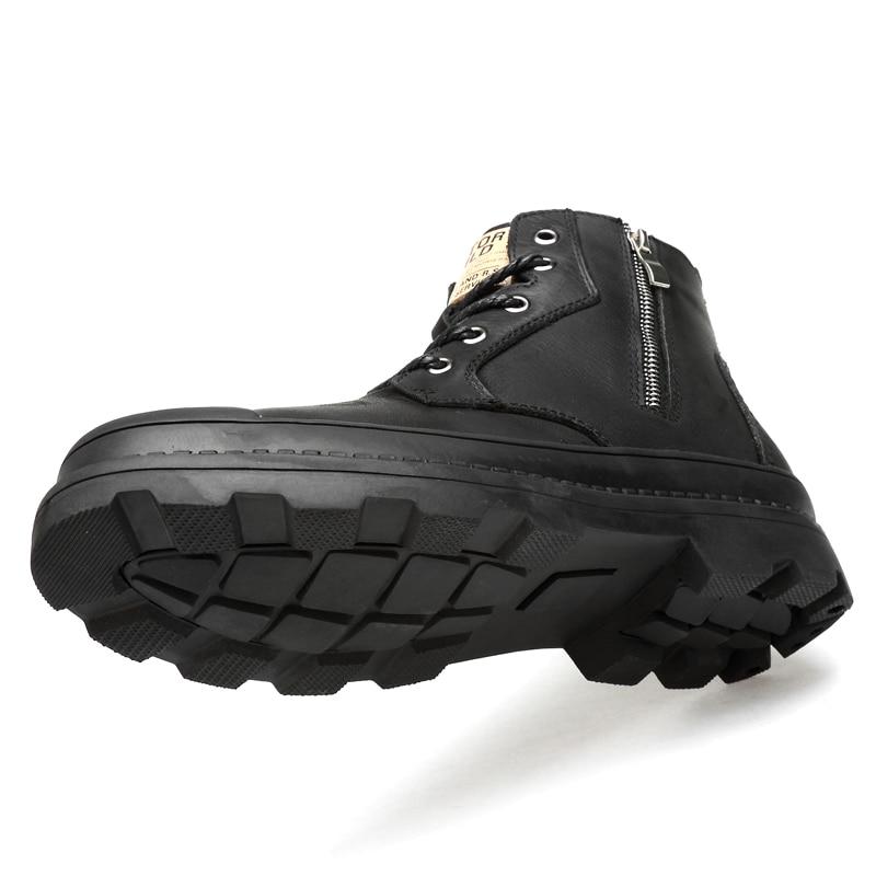 Купить с кэшбэком CLAX Men Boots Genuine Leather Autumn Leather Shoe Male High Top Zipper Motorcycle Boot Winter Boot Plush Fur Warm Snow Shoe