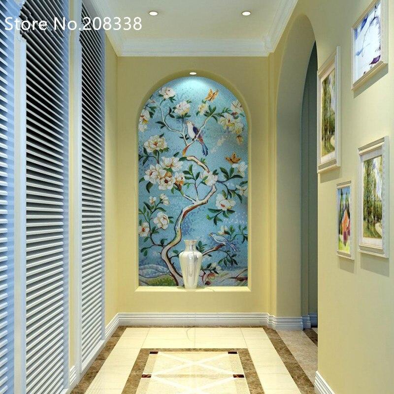 Топ модная Акция Бесплатная доставка планшет Сельский цветочный дизайн Ручная работа стеклянная мозаичная плитка художественная настенная наклейка, Декор - 3
