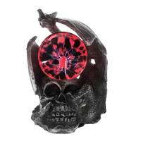 Mysticism Gothic Dragon On A Skull Head Statue With Electric Glass Plasma Ball Magic Lightning Skull Figurine Dragon Ornament