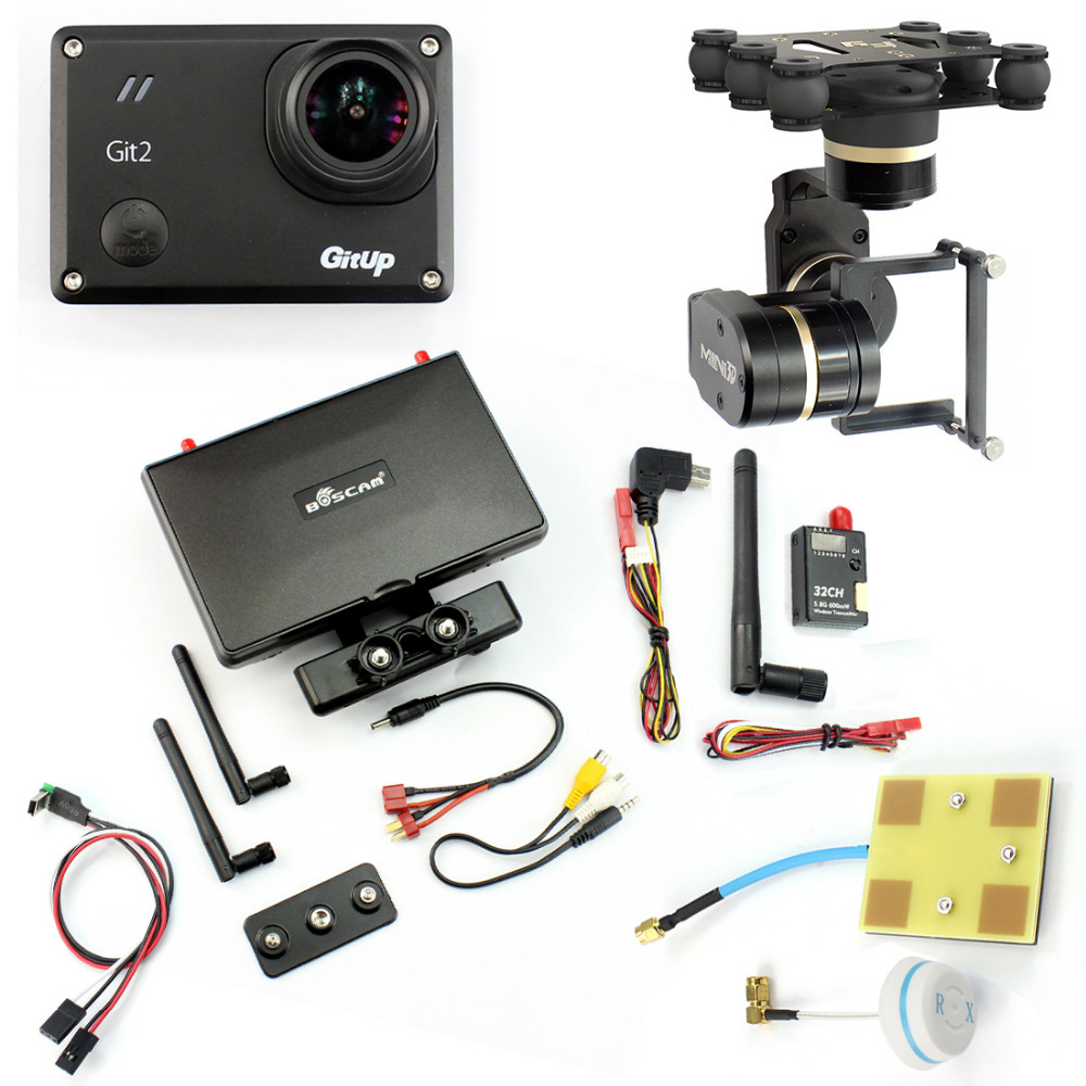 DIY Drone FPV Set with 600mw Transmitter 7 Inch FPV Monitor Feiyu G3 3-axis Gimbal Gitup git2 Camera FPV Cable Panel Antenna