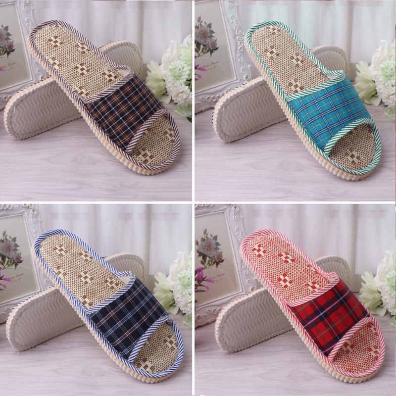One Size Summer Spring Linen Flax Plaid House Flat Slipper Indoor Home Cozy Open Toe Scuffs  Slip-on Flat Slipper Women Men