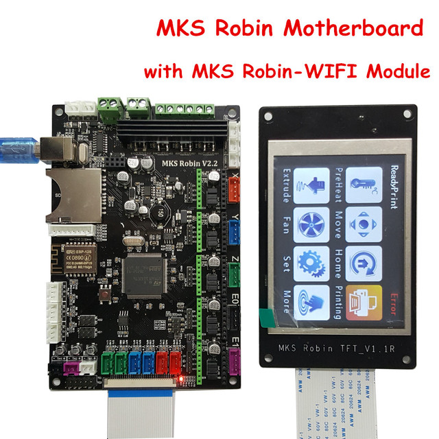 3D Printer Parts MKS Robin V2.2 Controller Motherboard with Robin TFT32 Display closed source software+MKS Robin-WIFI Module