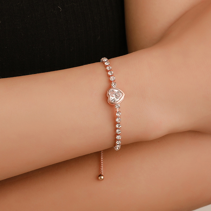 New Round Tennis Bracelet For Women Rose Gold Silver Color Cubic Zirconia Charm Bracelets & Bangles Femme Wedding Jewelry Gifts