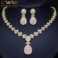 CWWZircons Noble Micro Pave Cubic Zirconia Stones Luxury Dubai Gold Color Bridal Wedding Necklace Jewelry Sets