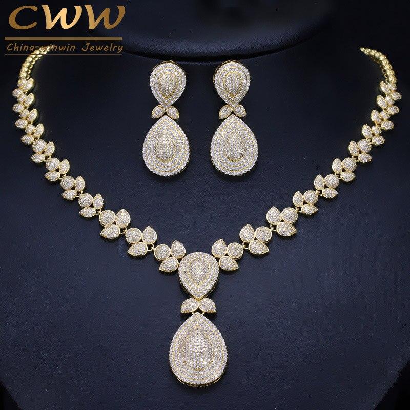 CWWZircons Noble Micro Pave Cubique pierres de zirconium De Luxe Dubaï Or Couleur De Mariée De Mariage Collier ensembles de bijoux pour Femmes T157