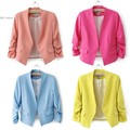 2016 New Hot Style Women Candy Color OL Style Thin Suit Outerwear 3/4 sleeve Coat Casual Mini Blazer 5 Colors 51