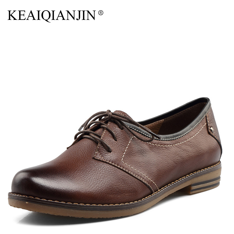 KEAIQIANJIN Woman Genuine Leather Derby Shoes Lace Up Oxfords Spring Autumn Black Brown Flats Genuine Leather Loafers Lazy Shoes keaiqianjin woman genuine leather brogue shoes spring autumn black white flats lace up genuine leather loafers lazy shoes 2017