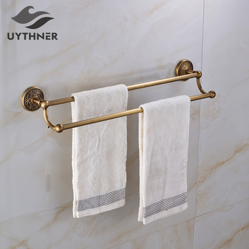Solid Brass Bathroom Double Towel Bars Rack Bathroom Accesssories Towel Holder Antique Brass nail free foldable antique brass bath towel rack active bathroom towel holder double towel shelf with hooks bathroom accessories