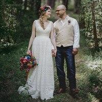 Deep V Neck Lace Wedding Dresses Gothic Fashion Bridal Gowns Floor Length Vestido de Noivas Country Wedding DW138