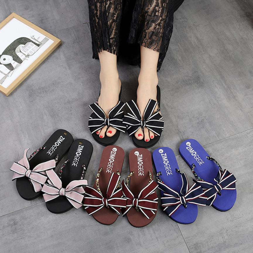 SAGACE Shoes Flip flops fashion Bow Summer Sandals Slipper Indoor Outdoor Flip-flops Beach casual shoes women 2018JU12 summer women shoes flip flops bow tie rivet flip flops fashion comfortable pvc beach outdoor flip flops women slipper shoes