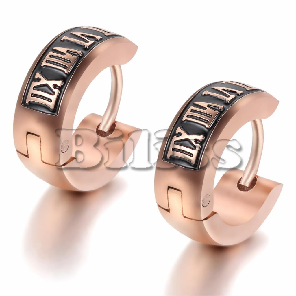 Vintage Women Men's Stainless Steel Small Hoop Huggie Earrings With Roman  Numerals Rose Gold Color 12mm