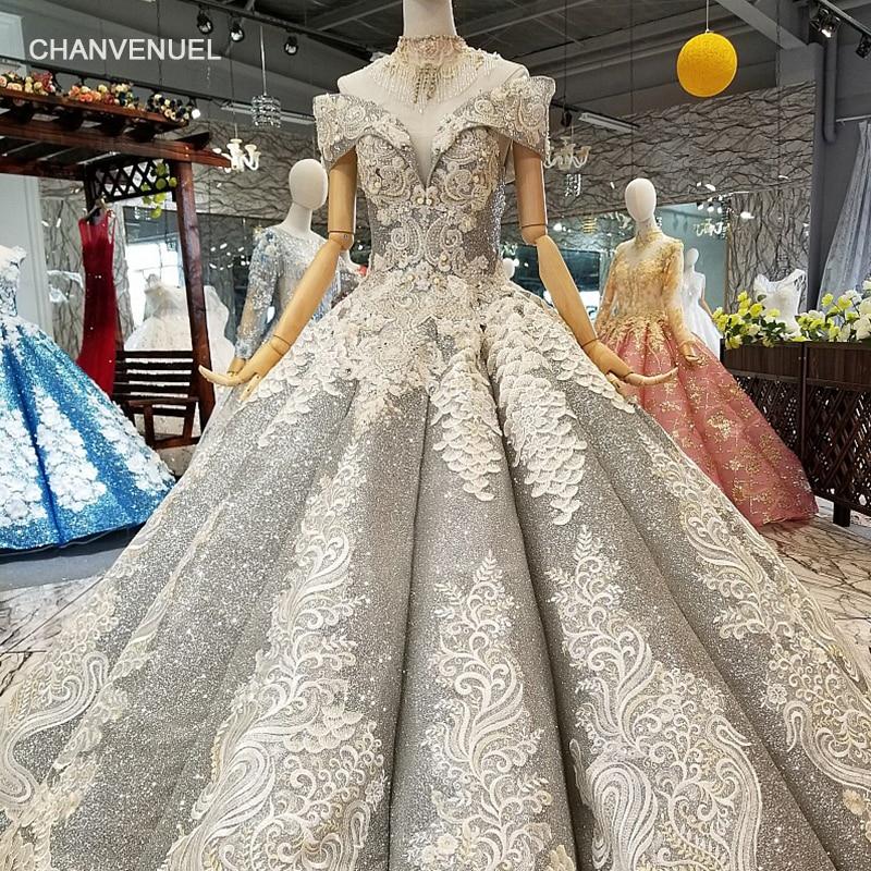 LS964441 grigio lucido madri di spose festa di nozze abiti da sposa off spalla sweetheart bling abiti da sera con la collana di cristallo