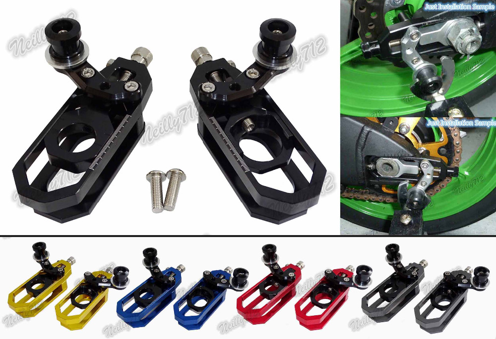 CNC Aluminum Chain Adjusters with Spool Tensioners Catena For Yamaha YZF R6 2006 2007 2008 2009 2010 2011 2012 2013 2014-2016 new cnc fender eliminator kit license plate holder for 2006 2007 2008 2009 2010 2011 2012 yzf r6 chinese spare parts accessory