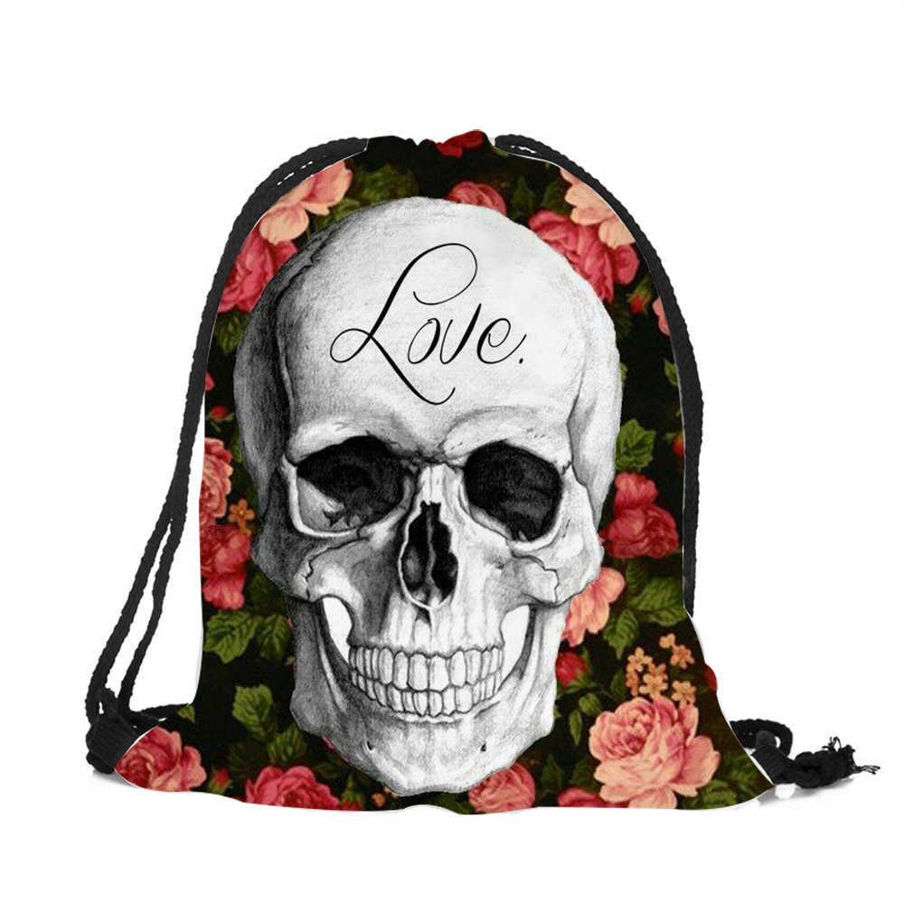 ... 2018 hottest Drawstring bags women men Unisex floral skull art 3D  Printing Halloween backpacks Mochila Feminina ...
