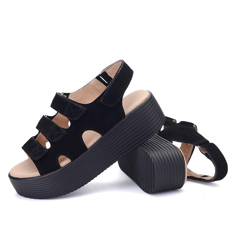 Zapatos Beige Eofk Cuero Gamuza Casuales negro Nuevo Sandalias 2019 Verano Mujer De Plataforma Plana Moda FOqx4FwC8