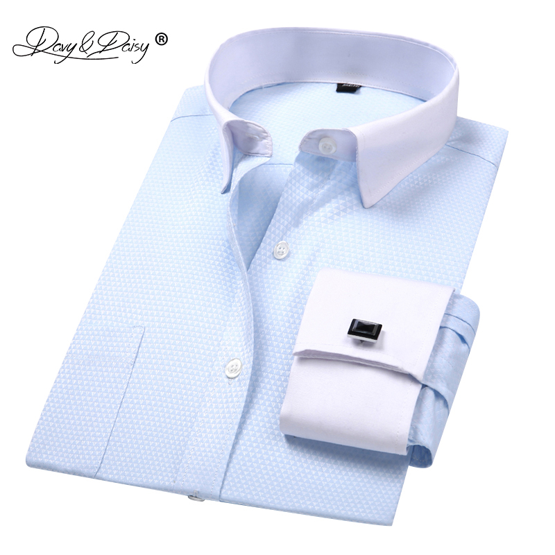 DAVYDAISY 2019 New Arrival French Cuff Men's Shirt White Dress Shirt Long Sleeved Man Formal Solid Man Camisa Masculin DS190