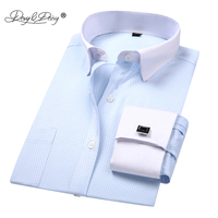 DAVYDAISY 2019 New Arrival French Cuff Men's Shirt White Dress Shirt Long Sleeved Man Formal Solid Man camisa masculin DS190 Dress Shirts