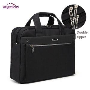 Image 1 - ダブルジッパー大容量の男のビジネスブリーフケースのラップトップバッグショルダー旅行バッグノートブックのため 15 16 17 インチ