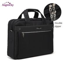 Dubbele Rits Grote Capaciteit Man Bedrijfsaktentas Laptop Tas Schouder Reistassen Notebook Messenger Bag Voor 15 16 17 Inch