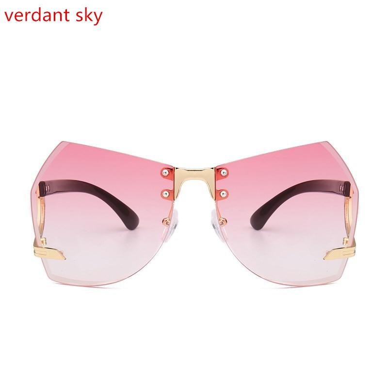 a7e7a3d68d 2017 new Italy design Beach Women Oversized Rimless Sunglasses Cutting Lens  Unique Sun Glasses Gradient Clear Lens Original box-in Sunglasses from  Apparel ...