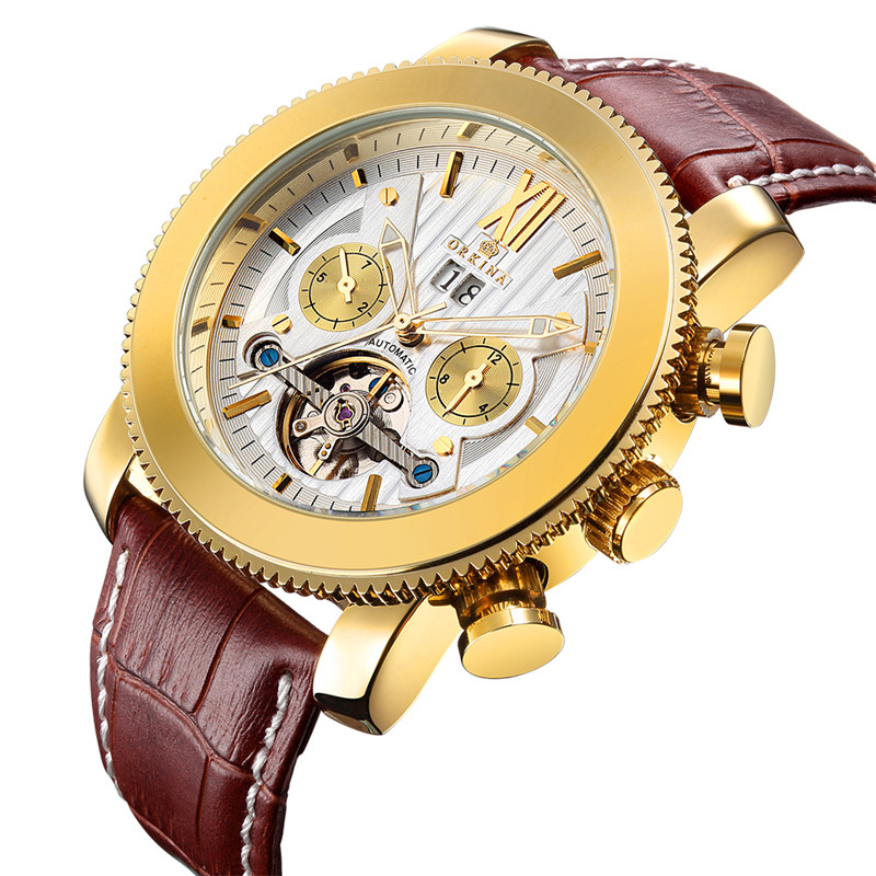 Luxury Skeleton Mens Wrist Watch Top Quality Tourbillon ORKINA Trendy Self-Winding Mechanical Genuine Leather Clock Male Gifts