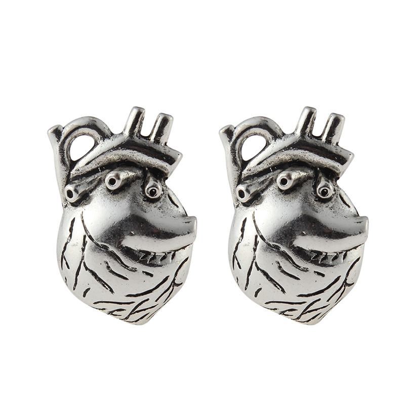 10 pcs 25*37mm Trendy Silver Plated Alloy Heart organ Pendant Charms For Jewelry Making DIY Accessories